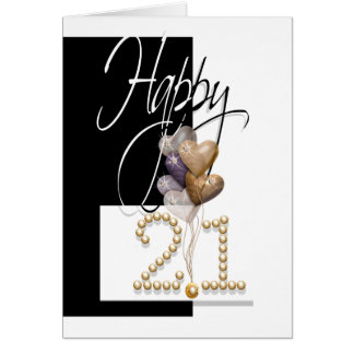 Happy 21st birthday balloons elegant greeting card