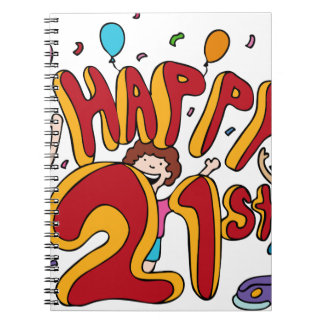 Happy 21st Birthday Cartoon Notebook