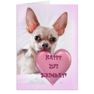 Happy 21st Birthday Chihuahua greeting card