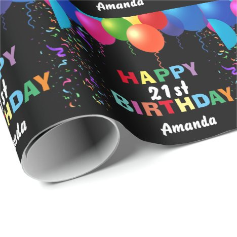 Happy 21st Birthday Colorful Balloons Black Wrapping Paper