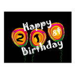 Happy 21st Birthday Colorful Balloons Postcards