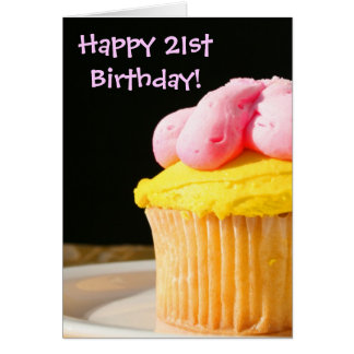 Happy 21st Birthday Cupcake greeting card