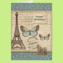 Happy 21st  Birthday  Customizable Greeting Cards