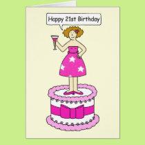 Happy 21st Birthday Lady on a Cake. Card