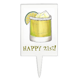 Happy 21st Birthday Margarita Cocktail Mixed Drink Cake Topper