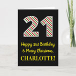 [ Thumbnail: Happy 21st Birthday & Merry Christmas, Custom Name Card ]