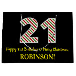 [ Thumbnail: Happy 21st Birthday & Merry Christmas, Custom Name Gift Bag ]