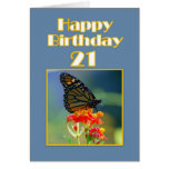 Happy 21st Birthday Monarch Butterfly Greeting Cards