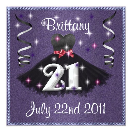 Happy 21st Birthday Party Invitations For Girls 13 Cm X 13 Cm Square Invitation Card