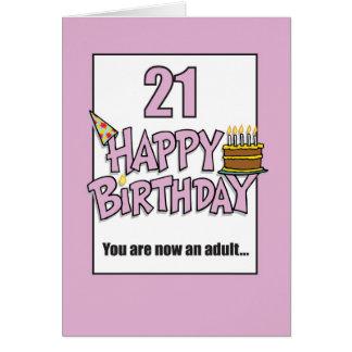 Happy 21st Birthday Pink Card