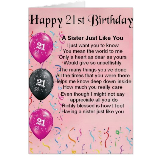 21st Birthday Wishes For A Sister ~ Happy st birthday sister poem card zazzle