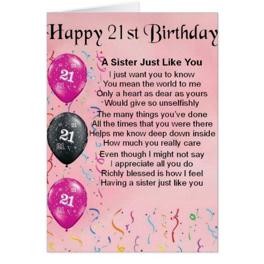 Happy 21st Birthday Sister Poem Card – Sister 21st Birthday Card