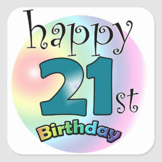 Happy 21st Birthday Square Sticker