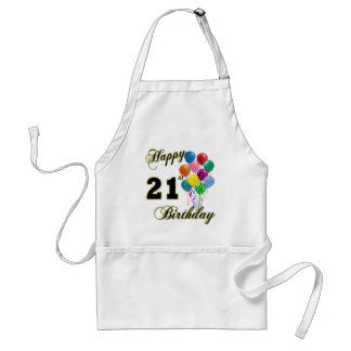 Happy 21st Birthday with Balloons Adult Apron