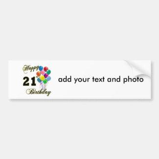 Happy 21st Birthday with Balloons Bumper Sticker