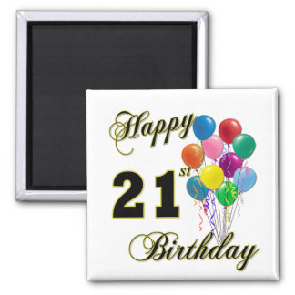 Happy 21st Birthday with Balloons Refrigerator Magnet
