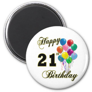Happy 21st Birthday with Balloons Magnet