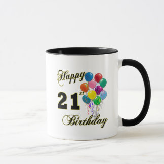Happy 21st Birthday with Balloons Mug