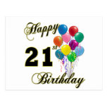 Happy 21st Birthday with Balloons Postcard