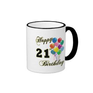 Happy 21st Birthday with Balloons Ringer Coffee Mug