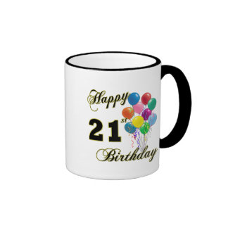 Happy 21st Birthday with Balloons Ringer Mug