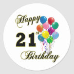 Happy 21st Birthday with Balloons Classic Round Sticker