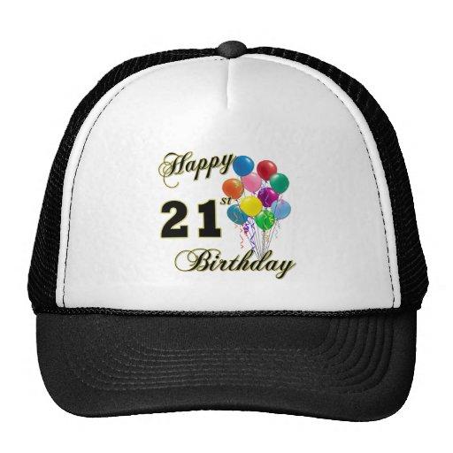 Happy 21st Birthday with Balloons Trucker Hat