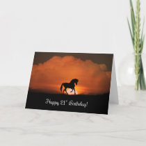 Happy 21st Birthday with Horse and Sun Card