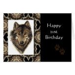 Happy 21st Birthday with Watercolor Wolf Cards