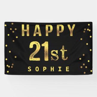 Happy 21st Faux Gold Foil Confetti Black Banner