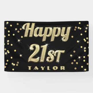 Happy 21st Gold Bling Typography Confetti Black Banner