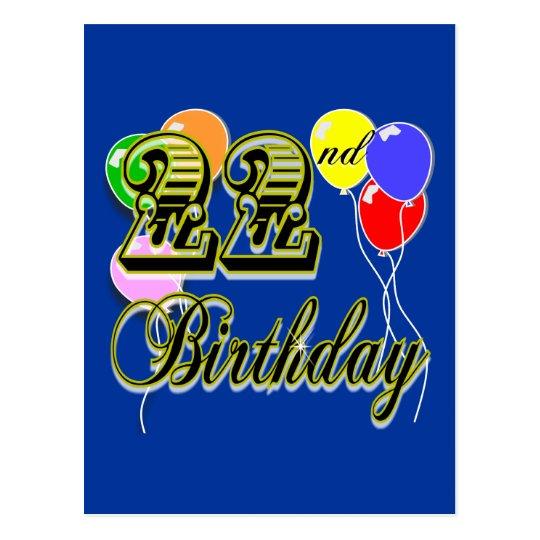 Happy 22nd Birthday Merchandise Postcard