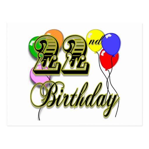 22nd Birthday Cards, 22nd Birthday Card Templates, Postage
