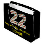 [ Thumbnail: Happy 22nd Birthday & Merry Christmas, Custom Name Gift Bag ]
