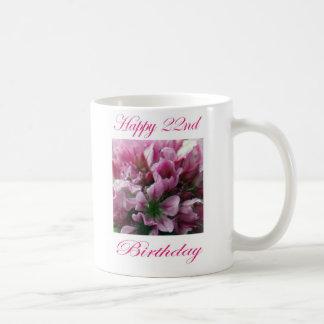 Happy 22nd Birthday Pink and Green Flower Coffee Mug