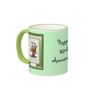 Happy 23rd Anniversary Flower vase Ringer Mug