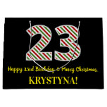 [ Thumbnail: Happy 23rd Birthday & Merry Christmas, Custom Name Gift Bag ]