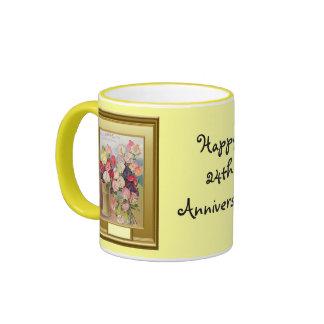 Happy 24th Anniversary Flowers in a vase Ringer Mug
