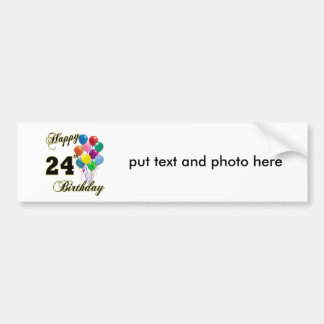 Happy 24th Birthday Gifts with Balloons Car Bumper Sticker