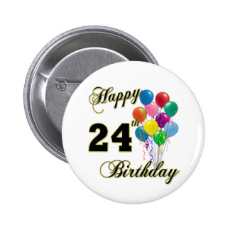 Happy 24th Birthday Gifts with Balloons 2 Inch Round Button