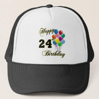 Happy 24th Birthday Gifts with Balloons Trucker Hat