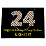 [ Thumbnail: Happy 24th Birthday & Merry Christmas, Custom Name Gift Bag ]