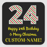 [ Thumbnail: Happy 24th Birthday & Merry Christmas, Custom Name Sticker ]