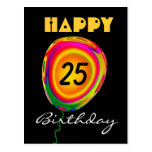 Happy 25 Birthday Colorful Gold Green Red Balloon Post Cards
