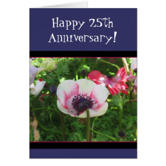 Happy 25th Anniversary poppy greeting card