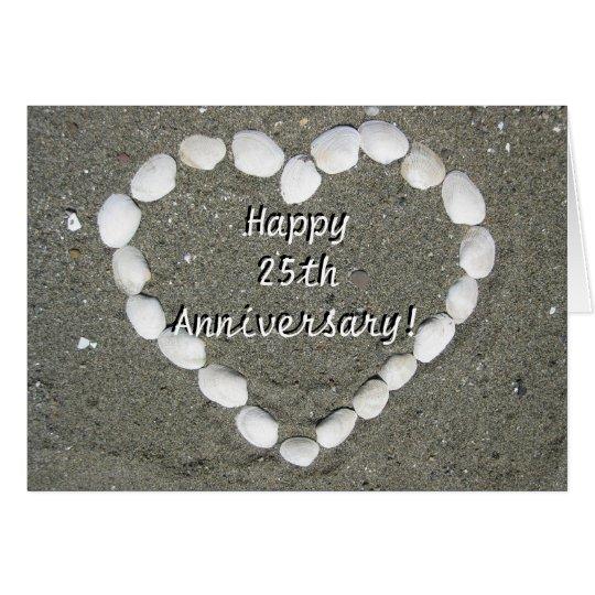Happy 25th Anniversary Seashell heart card