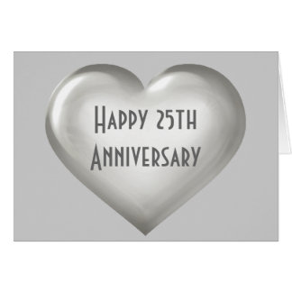 Happy 25th Anniversary silver glass heart Card