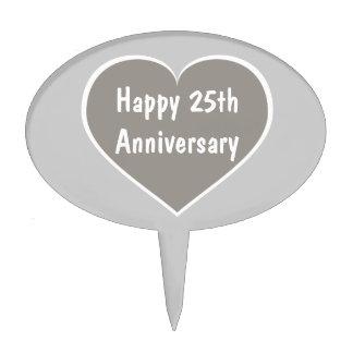 Happy 25th Anniversary silver heart Cake Topper