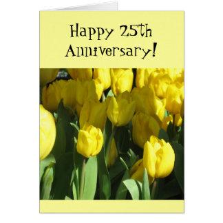 Happy 25th Anniversary Yellow tulip greeting card
