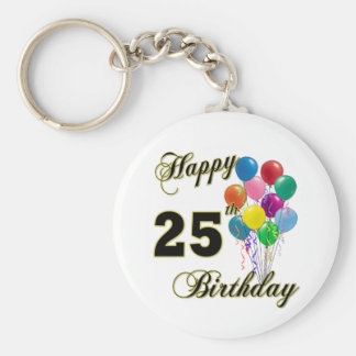Happy 25th Birthday Gifts with Balloons Keychain